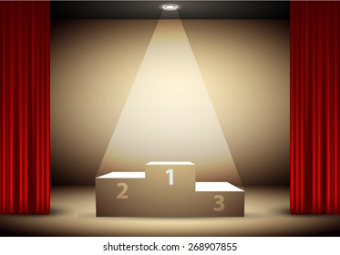 podium for the winners under a spotlight, framed red curtain