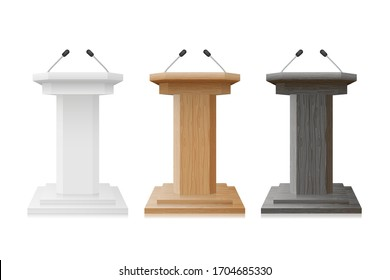 Podium wooden and white empty Tribune Set. Debate Podium Stand With Microphones mockup isolated. Illustration for Business Presentation. vector illustration