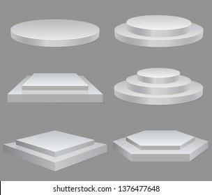 Podiums set, square, rhombus, hexagon geometric stage, round platform, Product presentation podium illuminated, empty space, white pedestal, blank template mockup. vector
