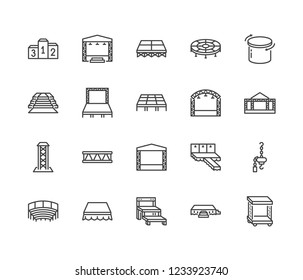 Podiums, stages flat line icons set. Event equipment vector illustrations - red carpet, runway fashion podium, performance scene, stage ladder, aluminium truss. Pixel perfect 64x64. Editable Strokes.