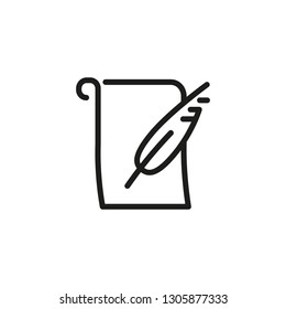 Poem line icon. Feather, paper, blank scroll. Art concept. Can be used for topics like writing, creation, poetry
