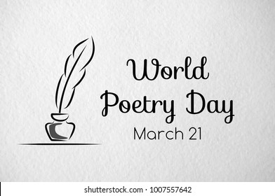 Poetry day vector greeting banner. Paper texture