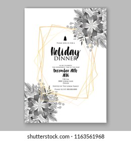 Poinsettia Christmas party invitation flyer winter floral vector background bridal shower baby shower christening baptism birthday card anniversary poinsettia winter holiday wreath