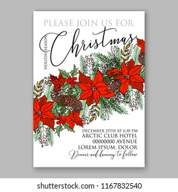 Poinsettia Christmas party invitation flyer poster winter floral vector background bridal shower baby shower christening baptism birthday card anniversary poinsettia fir pine winter holiday wreath