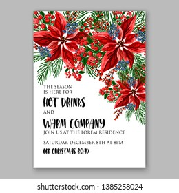 Poinsettia Christmas Party Invitation Poster Flyer for winter holiday event fiesta Red white flowers fir pine evergreen winter wreath red  blue berry