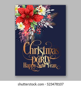poinsettia christmas party invitation sample card beautiful winter floral ornament