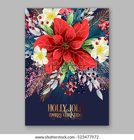 Poinsettia Christmas Party Invitation Sample Card Image Vectorielle