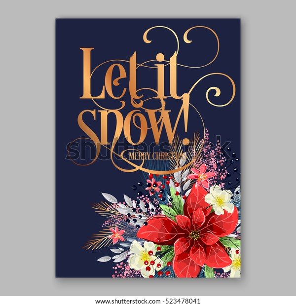 Poinsettia Christmas Party Invitation Sample Card Stock