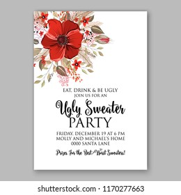 Poinsettia Christmas party invitation vector floral wreath fir branch berry winter holiday greeting card