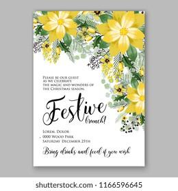 bright lemon yellow sunflower wedding invitation stock vector