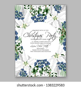 Poinsettia Christmas Party Invitation Winter white flower wreath illustration card template Fir tree branch privet blue berry