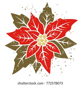 Poinsettia flower. Vector illustration of a traditional Christmas flower. Grunge textures on separate layer