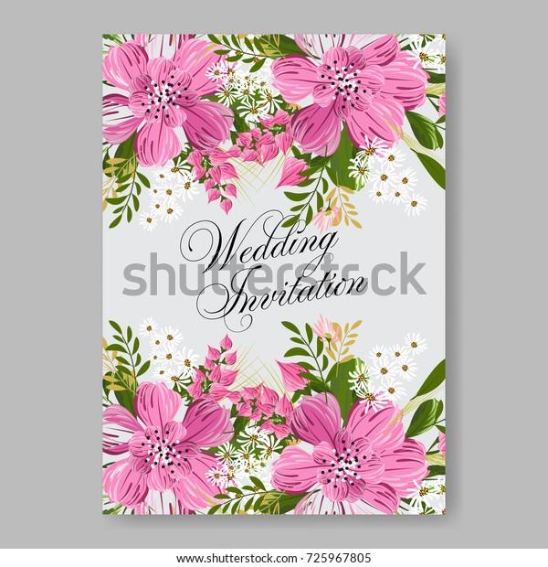 Poinsettia Hibiscus Wedding Invitation Template Stock Vector