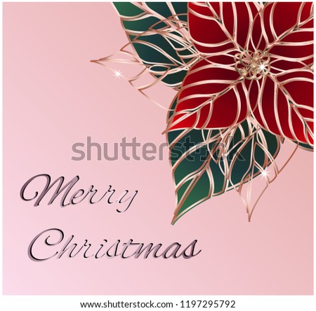 poinsettia isolated christmas new year hand stock vector royalty