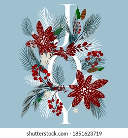 Poinsettia Merry Christmas greeting card or party invitation sale banner winter floral fir tree wreath poinsettia red flower red berry