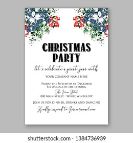 Poinsettia Merry Christmas party invitation Winter flower pine fir needle wreath red blue berry card template vector