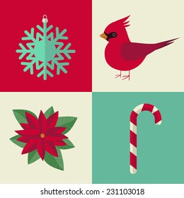 poinsettia, red cardinal, christmas candy,snowflake