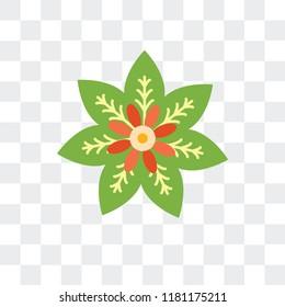 Poinsettia vector icon isolated on transparent background, Poinsettia logo concept