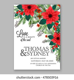 Poinsettia Wedding Invitation sample card beautiful winter floral ornament Christmas Party wreath poinsettia, pine branch fir tree, needle, flower bouquet Bridal shower complimentary template wording