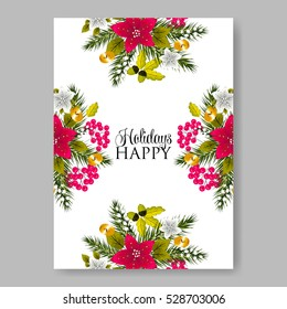 poinsettia wedding invitation sample card beautiful winter floral ornament christmas party wreath poinsettia pine branch