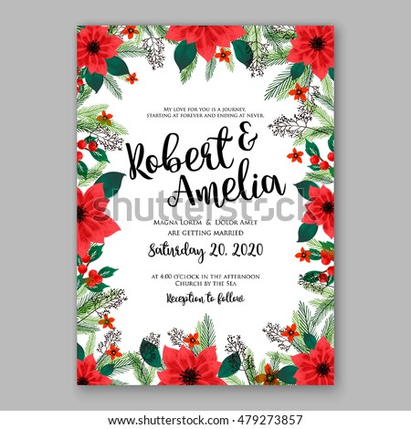 Poinsettia Wedding Invitation Sample Card Beautiful Stock