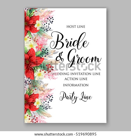 Poinsettia wedding invitation sample card beautiful stock vector poinsettia wedding invitation sample card beautiful winter floral ornament m4hsunfo