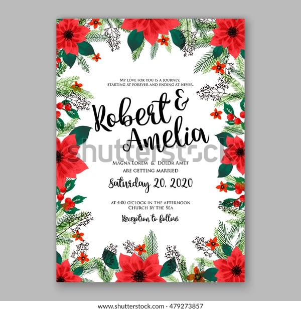Poinsettia Wedding Invitation Sample Card Beautiful Stock Image