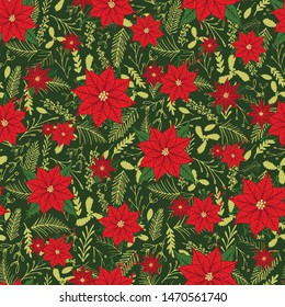 Poinsettia and winter foliage seamless floral pattern print. Vector holiday season background design.