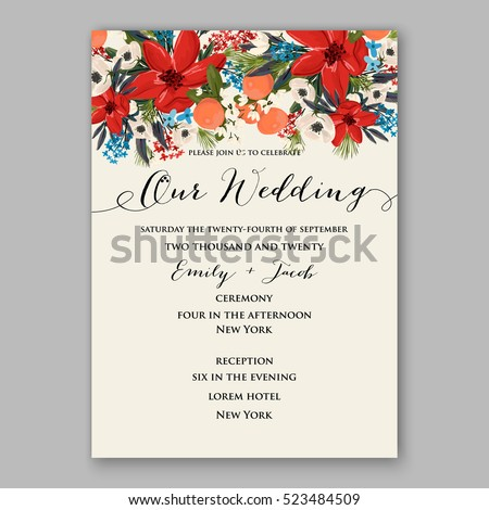 poinsettia winter wedding invitation template card stock vector