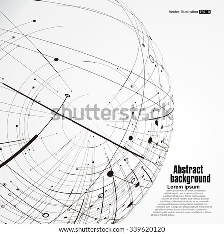 Point Curve Constructed Sphere Wireframe Technological Stock Vector