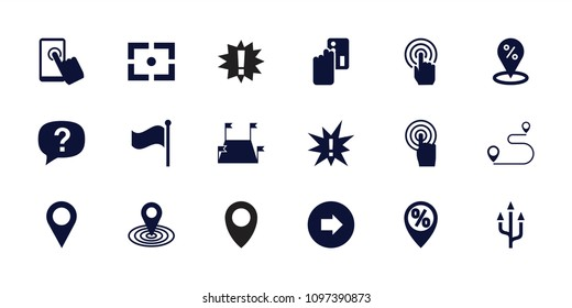 Point icon. collection of 18 point filled icons such as arrow right, map location, credit card payment, sale location, touchscreen. editable point icons for web and mobile.
