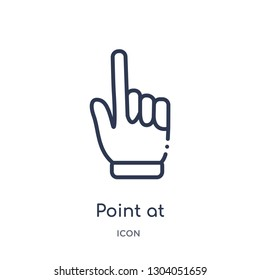 point at icon from user interface outline collection. Thin line point at icon isolated on white background.