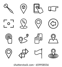 Point icons set. set of 16 point outline icons such as arrow left, pointing, map location, location pin, distance, touchscreen, flag, center focus, dart, creadit card payment