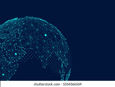 point and line composed world map,representing the global,Global network connection,international meaning.