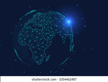 point and line composed world map,representing the global,Global network connection,international meaning.;