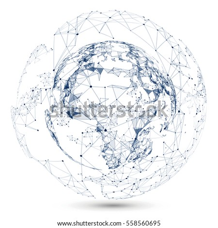 Abstract Map Of The World.Point Line Constitute Abstract Map World Stock Vector Royalty Free