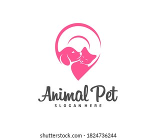 Point Pet Logo dog cat design vector template. Animals Veterinary clinic Logotype concept outline icon.