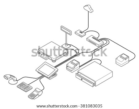 Point Sale Pos Equipment Setup Diagram Stock Vector Royalty Free