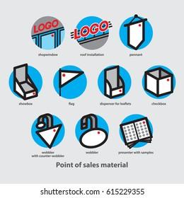 Point of Sales material and Point of Purchase material icons set