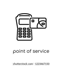 point of service icon. Trendy modern flat linear vector point of service icon on white background from thin line Cryptocurrency economy and finance collection, outline vector illustration