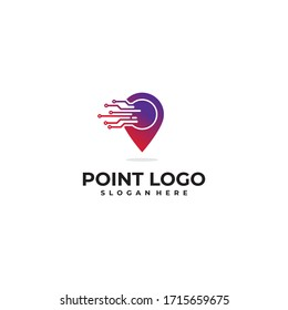 point technology logo icon vector isolated