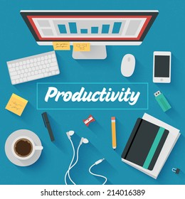 Point of View Flat Design Illustration: Productive office workplace. Icons set of business work flow items, elements and gadgets.