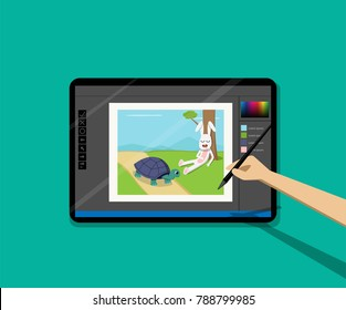 Point of view, Kid painted cartoon on tablet by pen, vector