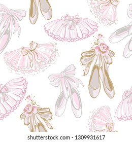 Pointe ballet shoes and ballerina tutu skirt seamless pattern. Hand drawn vector sketch. Gold and pink vintage watercolor illustration on white background. Baby fashion design.