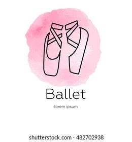 Pointe shoes - logo made in trendy line stile. Abstract watercolor background. Vector. Ballet series. Isolated on background and easy to use. Clean and minimalistic symbol.