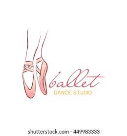 Pointe shoes. Vector illustration ballerina icon in dance. Design poster ballet school, dance studio