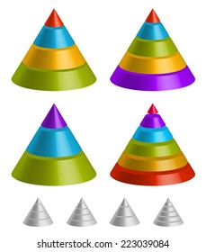 Pointed shapes. Pyramid, triangle charts.