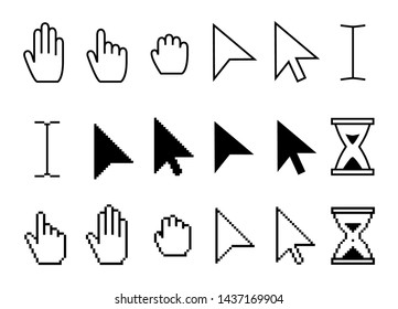 Pointer cursor icons. Web arrows cursors, mouse clicking and grab hand pixel icon. Computer pointers, internet cursor click. Vector isolated symbols collection
