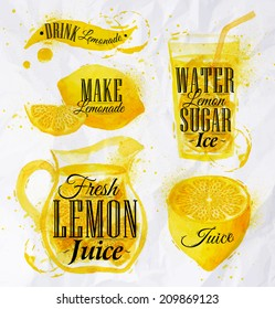 Pointer drawn pour lemonade lettering drink, make, fresh juice, water sugar ice, with splashes and blots.