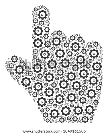 Pointer Finger Mosaic Vector Gears Vector Stock Vector (Royalty Free